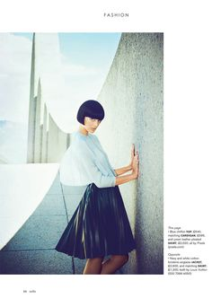 Model Katryn Kruger photographed by James Meakin - Stella Magazine.  Love the slick bob hair-cut and how it harmonices with the architecture of the set.