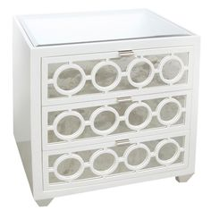 Loving this bedside table! Worlds Away Ava White Nightstand - Zinc Door Hardwood Furniture, Chalk Paint Furniture, Furniture Decor, Furniture Storage, White Furniture, Mirror Drawers, Storage Drawers, Storage Shelves, White Nightstand