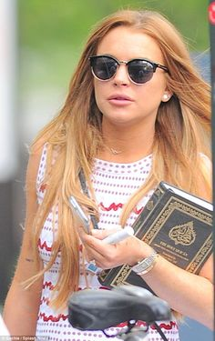 Religious text: Lindsay Lohan was spotted carrying a copy of the Quran in Brooklyn, New York, on Wednesday