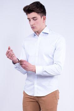Regular Fit Light Ciel Shirt In Spread Collar