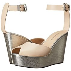 CoSTUME NATIONAL Metallic Wedge Sandal (Nude) Women's Dress Sandals ($446) ❤ liked on Polyvore featuring shoes, sandals, beige, wedge heel sandals, metallic sandals, ankle strap wedge sandals, metallic wedge sandals and platform sandals