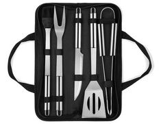 QMQ Utensil BBQ Barbecue Tool Set 5 Pieces Stainless Steel Grill Accessories with Carry Case – Complete Tool Kit with Tongs Spatula Meat Fork and Basting Brush Stainless Steel Bbq Grill, Stainless Steel Utensils, Portable Barbecue, Barbecue Grill, Bbq Equipment, Kitchen Equipment, Oxford Bags, Bbq Tool Set, Camping Bbq