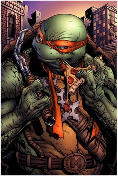 TMNT Think Mikey has a slight pizza addiction here. Ninja Turtles Art, Teenage Mutant Ninja Turtles, Ninja Turtles Cartoon, Teenage Turtles, Comic Kunst, Comic Art, Tmnt Mikey, D Mark, Arte Dc Comics