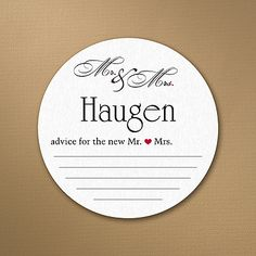 Mr. and Mrs. Advice Personalized Wedding Drink Coasters http://partyblockinvitations.occasions-sa.com/Wedding/Coasters/3254-TWS31754CS-Mr-and-Mrs-Advice--Coasters.pro