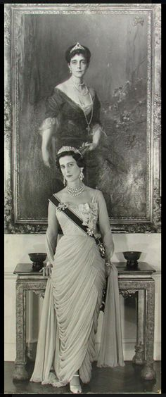 Princess Marina, Duchess of Kent, standing beneath a portrait of her mother, Princess Nicholas of Greece, by de Laszlo.  photo by Cecil Beaton. Camera Press.