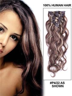 Ombre brazilian human hair 7 pieces 20 inch body wave clips in extensions cheap wholesale