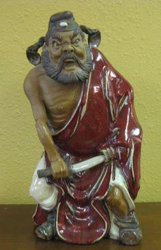 Large Chinese Shiwan warrior figure mudman mudmen signed | eBay