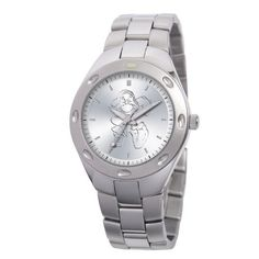 Disney Men's 59007-3 Stainless Steel Grumpy Watch Disney. $103.99. Stainless steel bracelet; Official Disney packaging. Laser etched dial. Stainless steel case. Disney character on dial. Water-resistant to 33 feet (10 M). Save 20%!