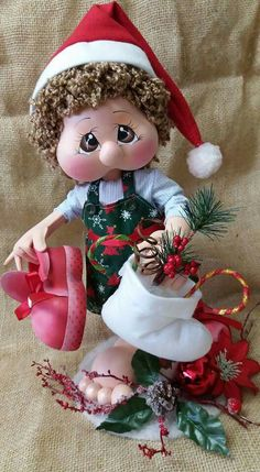 Foam Crafts, Diy Crafts, Christmas Decorations, Christmas Ornaments, Holiday Decor, Xmas Elf, Raggedy Ann, Sewing Dolls, Bee
