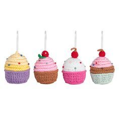 Delightful crochet cupcake decorations