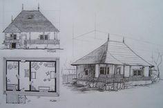 casa traditionala romaneasca by Camyarh on DeviantArt Buildings, Floor Plans, Diagram, Deviantart, Drawings, Modern, House, Houses, Trendy Tree
