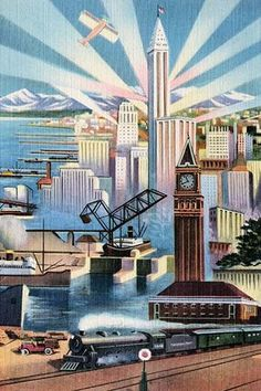 An art deco linen postcard featuring a metropolis and all the elements of modern society and its technology. From trains to planes, from dockyards to skyscrapers, ships, cars, and everything imbetween