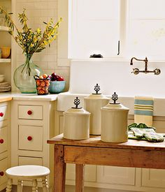 Canisters are back in style! These are in my catalog! I sell Willow House products. We used to be Southern Living at HOME. Living Willow, Willow House, Makeover Before And After, Southern Living Homes, Kitchen Canisters, Kitchenware, Decorative Knobs, Home Room Design, Farmhouse Homes