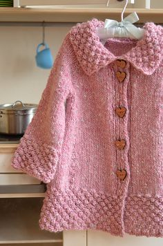 crochet poncho kids Ravelry: Project Gallery for Roseberry Cardi pattern by Monika Sirna Kids Knitting Patterns, Baby Sweater Patterns, Knit Cardigan Pattern, Knitted Baby Cardigan, Hand Knitted Sweaters, Crochet Poncho, Knitting For Kids, Baby Pullover Muster, Quick Knits