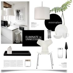 Minimal Kitchen by magdafunk on Polyvore featuring interior, interiors, interior design, home, home decor, interior decorating, Lights Up!, Vera Wang, ASA and canvas