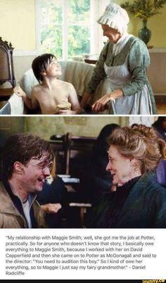 Maggie Smith bros Daniel Radcliffe into Harry Potter. Harry Potter World, Magia Harry Potter, Classe Harry Potter, Theme Harry Potter, Harry Potter Feels, Harry Potter Jokes, Harry Potter Pictures, Harry Potter Universal, Harry Potter Fandom