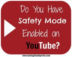 Did You Know YouTube Has a Safety Mode?  Make the internet a bit safer for your family with this tool.