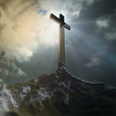 Kruis op de berg religieuze kunst achtergrond door decalfoundation