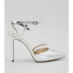 New Look Silver Asymmetric Strap Top Pointed Heels ($33) ❤ liked on Polyvore featuring shoes, pumps, silver, silver metallic pumps, pointy toe shoes, silver stiletto pumps, silver pumps and silver pointed toe pumps