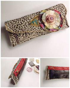 Leopard Print Clutch Bag Upcycled Funky One of a Kind Mixed Media