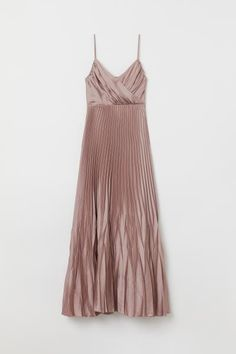 Long dress in satin with a sheen. Draped wrapover front and narrow adjustable shoulder straps. Seam below bust concealed side zip and pleated skirt. Satin lining. Taupe Dress, Metallic Dress, Chiffon Dress Long, Short Lace Dress, Simple Prom Dress, Maxi Dress Wedding, Pleated Maxi, Ladies Dress Design, Skirt Outfits