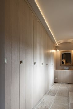 Modern cabinets FLOOR TO CEILING, nice lighting also lovely timber veneer colour.