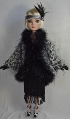 Ellowyne Wilde, OOAK 1920's Leopard Coat Flapper Outfit | by crafd-diva-dolly-duds via eBay, SOLD 1/12/14 $46.52