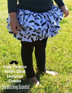 Ruffle Skirt and Leggings Combo with Free Pattern | The Stitching Scientist. Adorable! Sized 2T, directions for resizing, great way to use up small amounts of fabric!