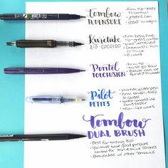 Tips for hand lettering pens.