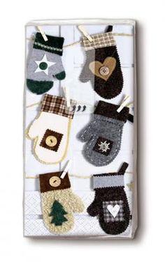 bedruckte Taschentücher Handschuhe an der Leine - Servietten Versand Tischdeko Kerzen OnlineShop Paper Design, Advent Calendar, Christmas Ornaments, Holiday Decor, Pictures, Dinner Napkins, Gloves, Candles, Christmas