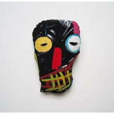 Mask art Basquiat pop art soft sculpture black New York unique... (265 PLN) ❤ liked on Polyvore featuring 3buu and basquiat