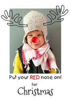 Wie gaat er als RED nose rendier dit jaar? Ga aan de slag met deze grappige kerstkaart, plaats de rode neus en 't gewei op de juiste plek van je foto