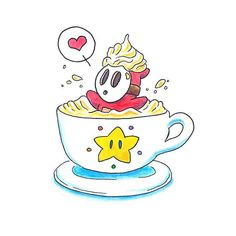Items similar to Shyguy With Whip Watercolor Print - Shy Guy Latte - Nintendo Fan Art - Mario Star- Sweet Sugar Art- Framed Wall Art Espresso - Cappuccino on Etsy Pictures To Draw, Cute Pictures, Katie Clark, Mario Star, Nintendo, Clark Art, Shy Guy, Shy Girls, Cartoon Pics