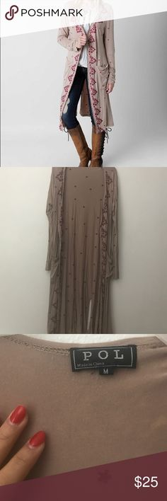 Pol Embroidered Duster Cardigan Pol   Buckle   Cardigan   Long   Embroidered   M   Used   Buckle Sweaters Cardigans