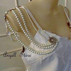 Colar Body Jewelry Noiva Perola Cristal