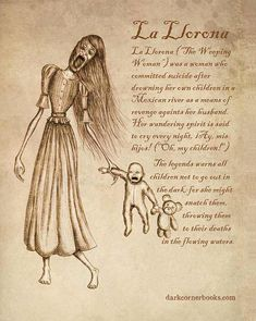 Dark Corner Bestiary - La Llorona How depressing. Their are two versions to this story, this one and that she lost her children and when she realized they were dead then she killed herself. So either way it's still depressing. Mythical Creatures Art, Mythological Creatures, Magical Creatures, Mythological Monsters, Dark Creatures, Myths & Monsters, Legends And Myths, Supernatural Beings, Creepy Stories
