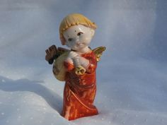 Wistful Angel with Toys Ornament Vintage Fontanini Spider Mark, Depose Italy 333