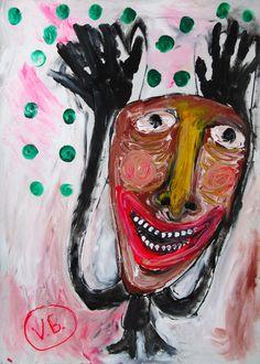 """""""No sé qué te iba a decir en el siglo V"""" de Victoria Barranco @ VirtualGallery.com - Pintura acrílica en cartón de 50x70 cm (19.7x27.6 in). Arte marginal. Figura de un chico joven sonriente. Inspirado por la idea de la reencarnación. (2015)"""