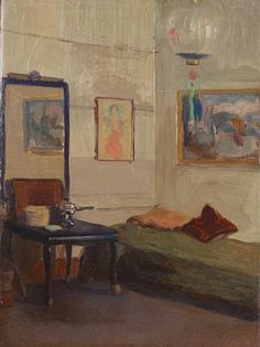 Walter Gay: Quiet Interior with Daybed, 1910. A low-key room intended for all functions in a single space: a daybed, a chafing dish to prepare your meals, a simple Japanese lantern to cover the light fixture, a few toss pillows for comfort. What more does a young artist need? Except a buyer for the paintings ranged round the walls. Magnaverde.