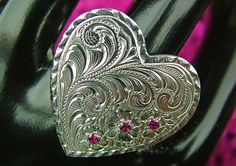 Sterling Silver engraved Heart Ring with Rubies by GypsumMountain, $125.00