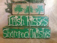 Primitive Country Irish Kisses Shamrock Wishes Shelf Sitter Wood Block Set #Shamrock Kisses #DoughandSplinters