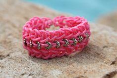 Rubberband Friendship Bracelet pink beaded rubberband by JJJCrafts, $4.75