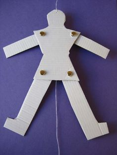 This guide will show you how to make a jumping puppet, also known as a Jumping Jack.  It is hung on a door knob or nail on the wall and when  the bottom string is pulled its arms and legs move up and down.