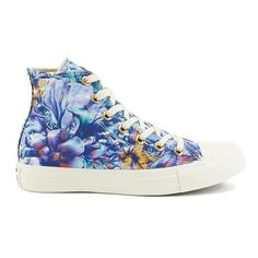 Converse Women's Chuck Taylor All Star Floral Print Hi-Top Canvas... (185 RON) ❤ liked on Polyvore featuring shoes, sneakers, converse, canvas sneakers, lace up high top sneakers, floral shoes, hi top canvas sneakers en floral print sneakers