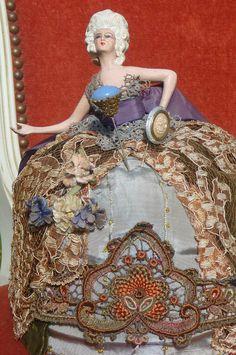 RARE Antique French Boudoir Doll Half Doll Fashion c1900 Pin Cushions | eBay