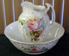 ANTIQUE Hand Painted White Embossed Gold Trim Floral Wash Basin and Pitcher Set…
