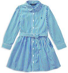 Girls  Bengal Stripe Shirtdress - Little Kid  center neck sleeve Cotton  Shirt 8c4c4446fc26