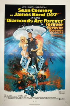 Directed by Guy Hamilton. With Sean Connery, Jill St. A diamond smuggling investigation leads James Bond to Las Vegas, where he uncovers an evil plot involving a rich business tycoon. James Bond Movie Posters, James Bond Movies, Original Movie Posters, Sean Connery James Bond, John Tucker, Elia Kazan, Jackie Brown, Jimmy Dean, Quentin Tarantino