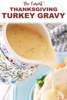 The best Thanksgiving turkey gravy ever! Make this Easy Turkey Gravy Recipe for Thanksgiving this year! It's a classic turkey gravy made simple with only 4 ingredients. No drippings needed! Thanksgiving Dinner Recipes, Holiday Recipes, Thanksgiving Gravy Recipe Easy, Easy Thanksgiving Side Dishes, Traditional Thanksgiving Recipes, Thanksgiving Tablescapes, Thanksgiving Games, Holiday Dinner, Holiday Parties