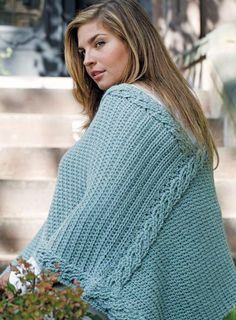 Plus Size Crochet Poncho Pattern | AllFreeCrochet.com ~ look stylish while showing off this beautiful poncho ~ beautiful cable-like design ~ pick your colour & off you go ~ intermediate skill ~ FREE CROCHET pattern